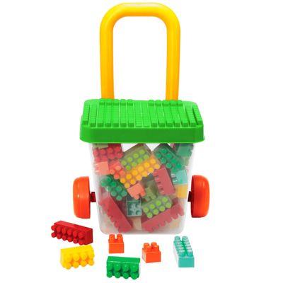 Carrinho-Balde-de-Puxar-com-Blocos---Smoby-Brick---Verde---Gulliver