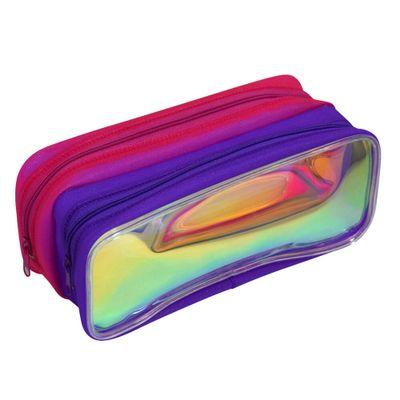 estojo-escolar-duplo-20x9-cm-neon-roxo-e-vermelho-dac-E216_Frente