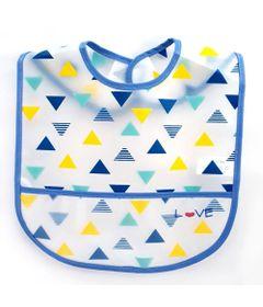 Babador-com-Bolso---Azul---Triangulos---Love_Frente