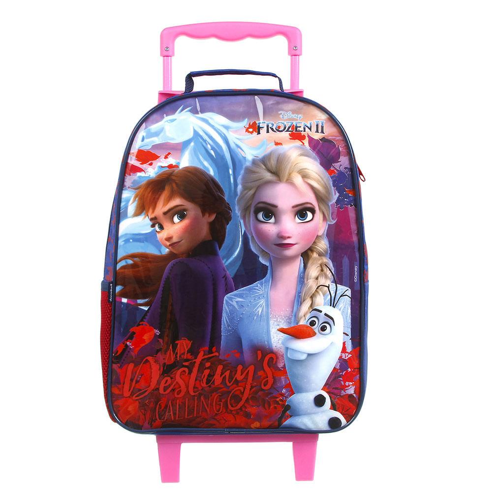 Mochila com Rodinhas - 40Cm - Disney - Frozen 2 - Rosa e Azul - Dermiwil