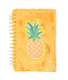 caderno-espiral-duplo-1-4-capa-dura-de-pelucia-abacaxi-80-folhas-amarelo-dermiwil-37717_Frente