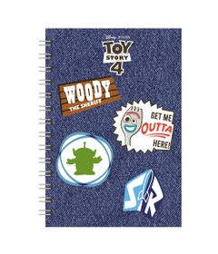 caderno-espiral-duplo-1-4-capa-dura-jeans-e-patches-toy-story-4-80-folhas-azul-dermiwil-37850_Frente