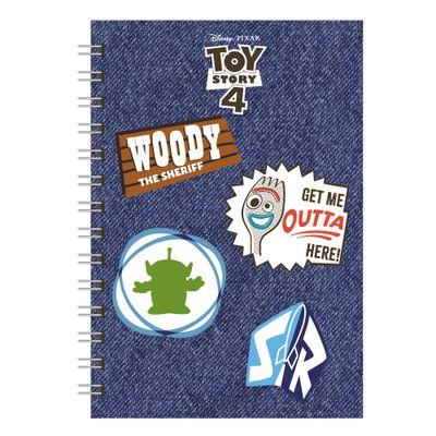 caderno-espiral-duplo-1-4-capa-dura-jeans-e-patches-toy-story-4-80-folhas-azul-dermiwil-37850_Frente