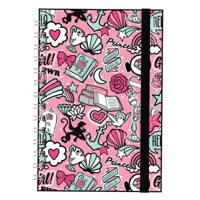 caderno-espiral-duplo-bullet-journal-princesas-disney-80-folhas-rosa-e-preto-dermiwil-37842_Frente