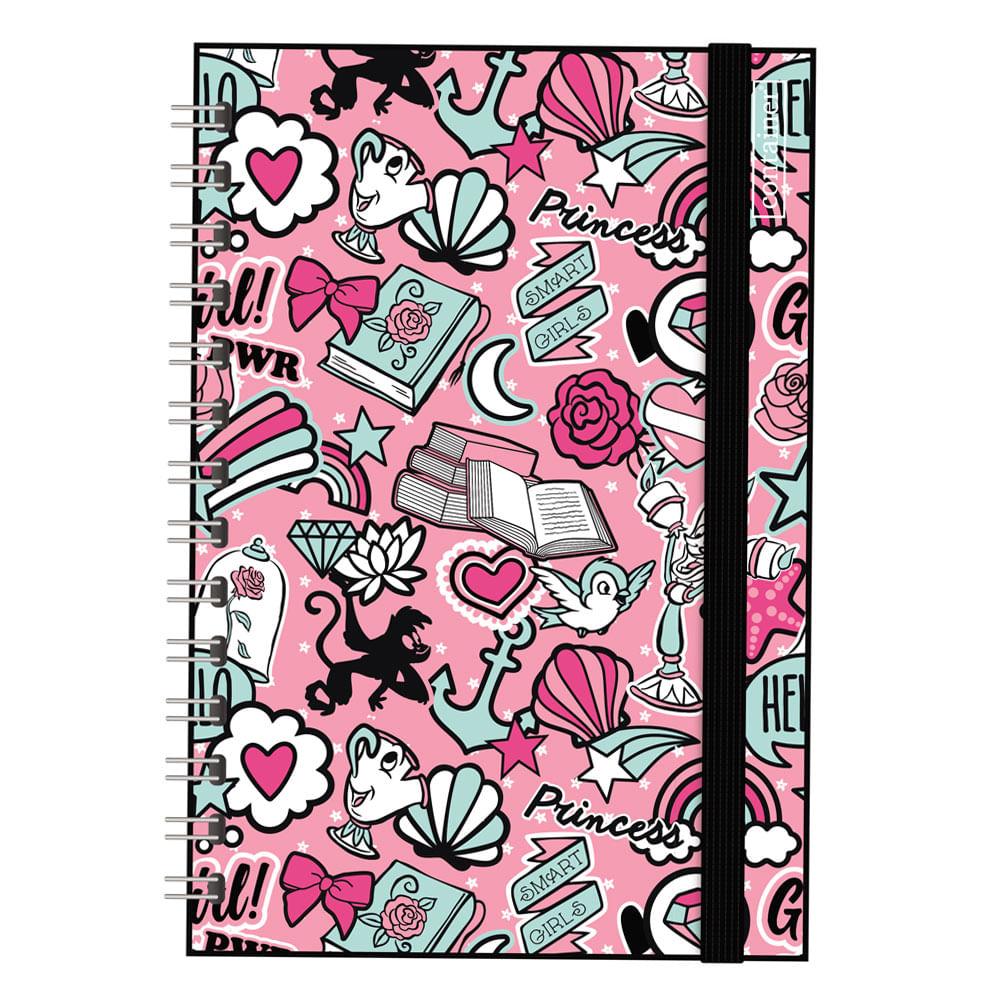 Caderno Espiral Duplo - Bullet Journal - Princesas Disney - 80 Folhas - Rosa e Preto - Dermiwil
