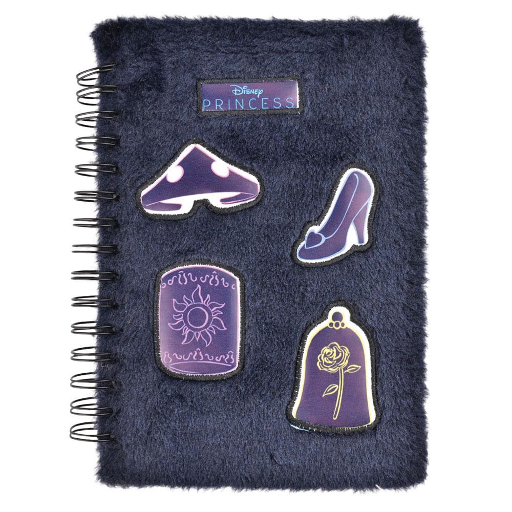Caderno Espiral Duplo - 1/4 - Capa Dura de Pelúcia - Princesas Disney - 80 Folhas - Azul - Dermiwil