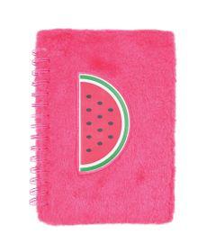 caderno-espiral-duplo-1-4-capa-dura-de-pelucia-melancia-80-folhas-pink-dermiwil-37707_Frente