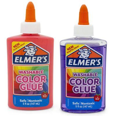 Kit-de-Acessorios-para-Slime---Colas---Colorida-e-Translucida---147-Ml---Rosa-e-Roxo---Toyng