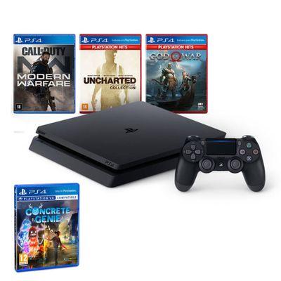 Kit-com-Console---Playstation-4---Slim-Bundle-Hits-V7---1TB-com-5-Jogos---Jogo-Concrete-Genie---Sony