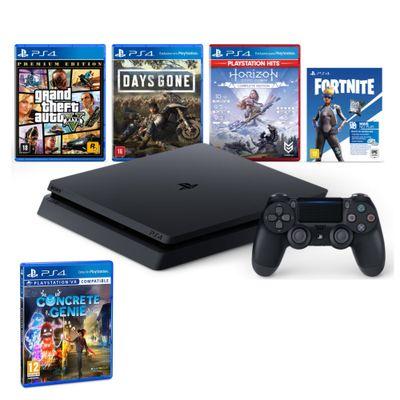 Kit-com-Console---Playstation-4---Slim-Bundle-Hits-V6---1TB-com-3-Jogos---Jogo-Concrete-Genie---Sony