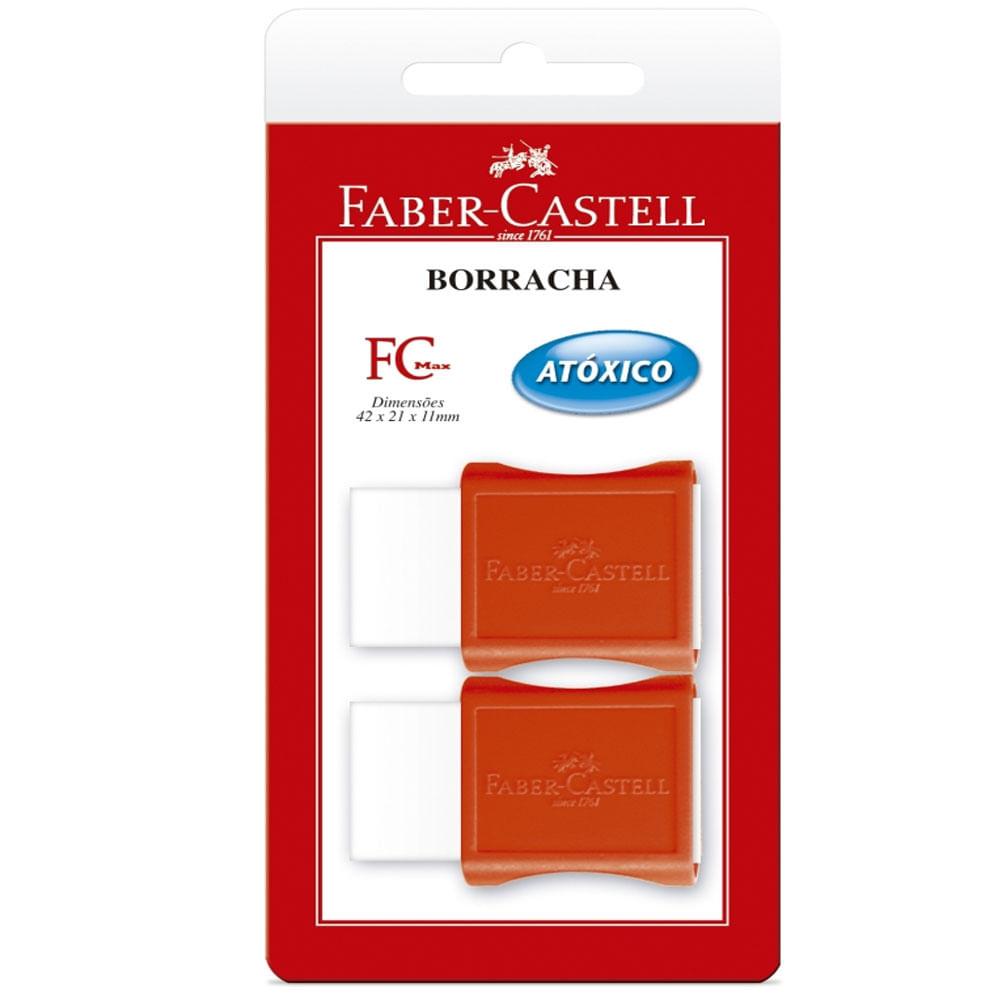 Borracha com Cinta Plástica - FC Max - 2 Unidades - Branco e Vermelho - Faber-Castell