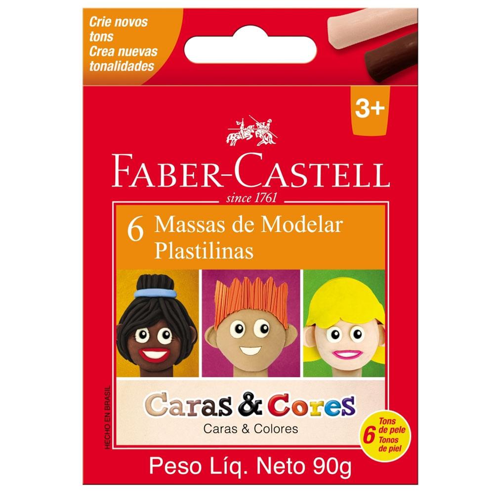 Massa de Modelar - Caras e Cores - 6 Cores - 90g - Faber-Castell
