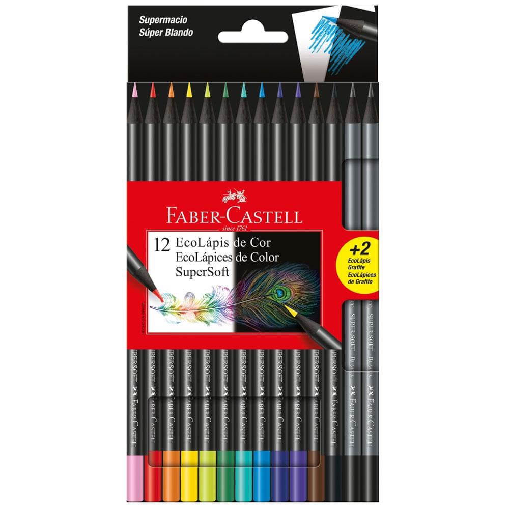 Lápis de Cor e Grafite - EcoLápis Supersoft - 12 Cores + 2 Grafites - Faber-Castell