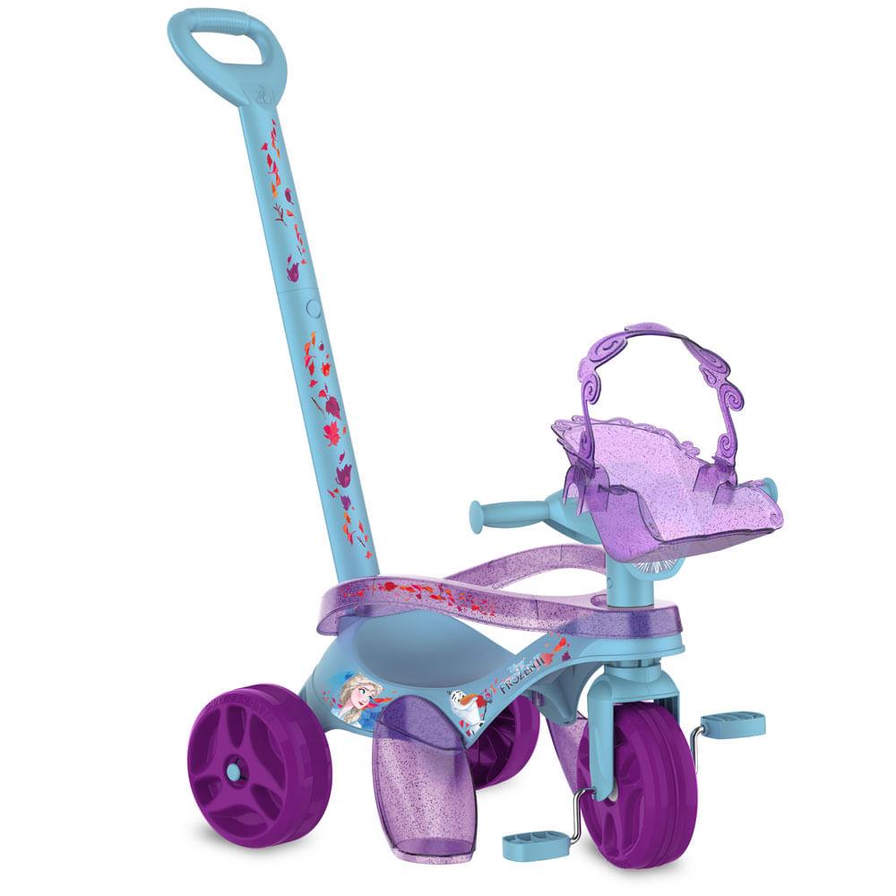 Triciclo de Passeio e Pedal - Mototico - Disney - Frozen 2 - Azul e Roxo - Bandeirante