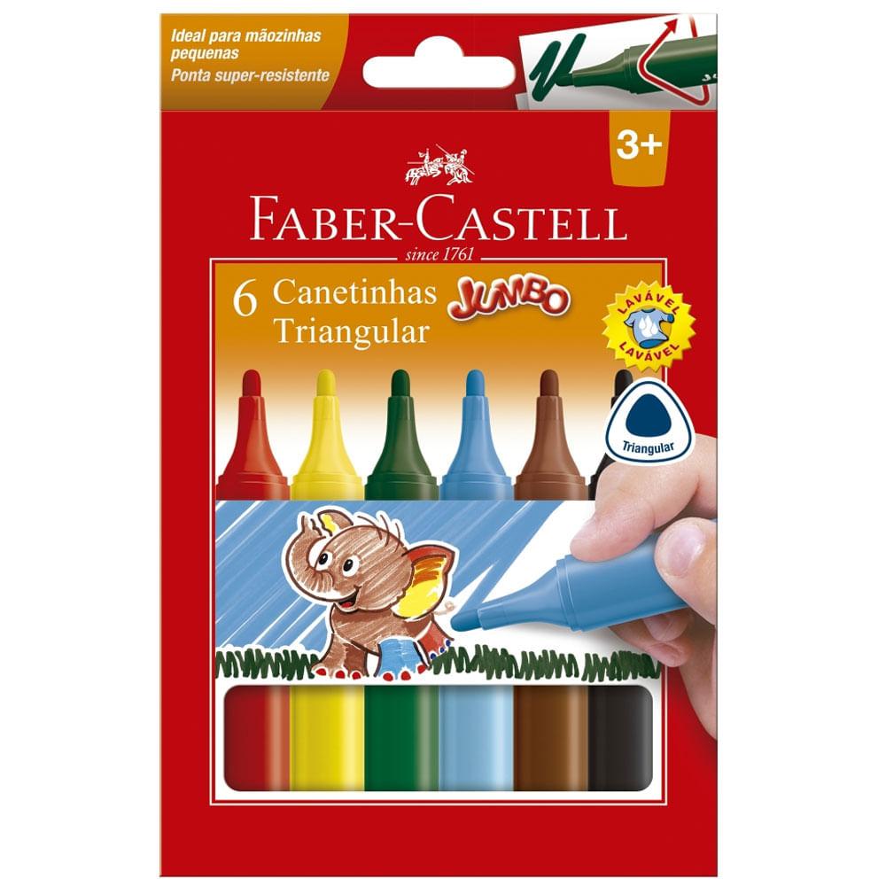 Canetinha Colorida - Jumbo Triangular - 6 Cores - Faber-Castell