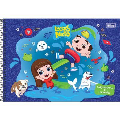 Caderno-de-Cartografia---Espiralado---Capa-Dura---80-Folhas---Luccas-Neto---Azul---Tilibra