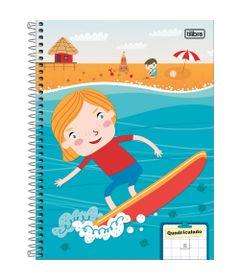 Caderno-Quadriculado---Espiralado---Capa-Dura---96-Folhas---Sapeca-Meninos---Surf---Tilibra