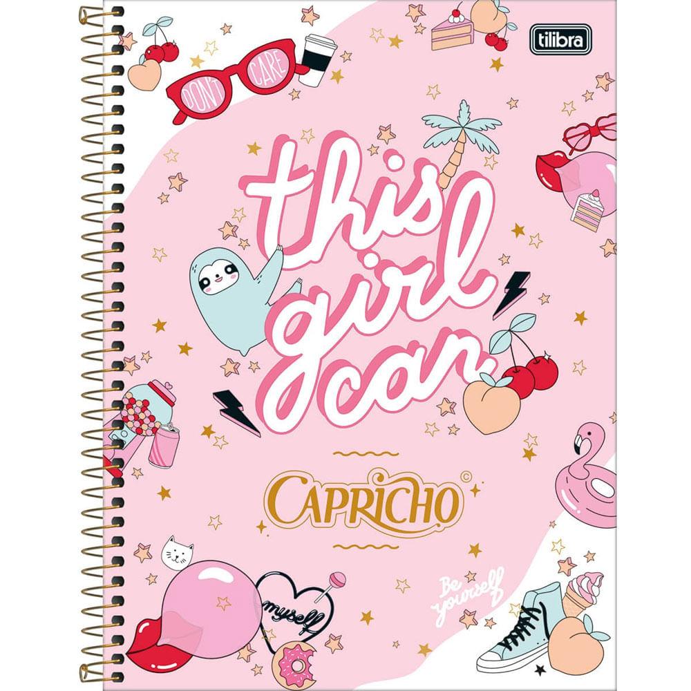 Oferta Caderno Universitário Espiralado - Capa Dura - 80 Folhas - Capricho - Rosa - Tilibra por R$ 22.9