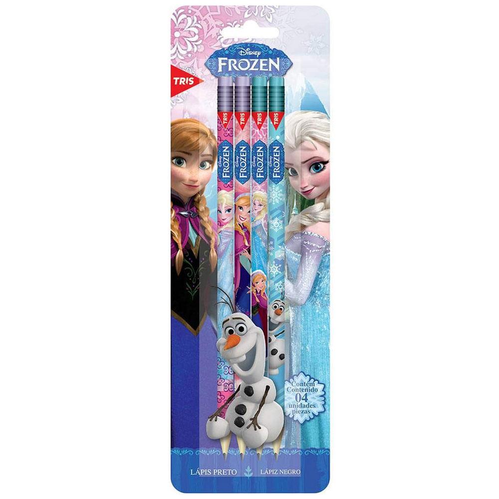 Lápis Preto HB - Nº 2 - Redondo com Borracha - Disney - Frozen - 4 Unidades - Tris