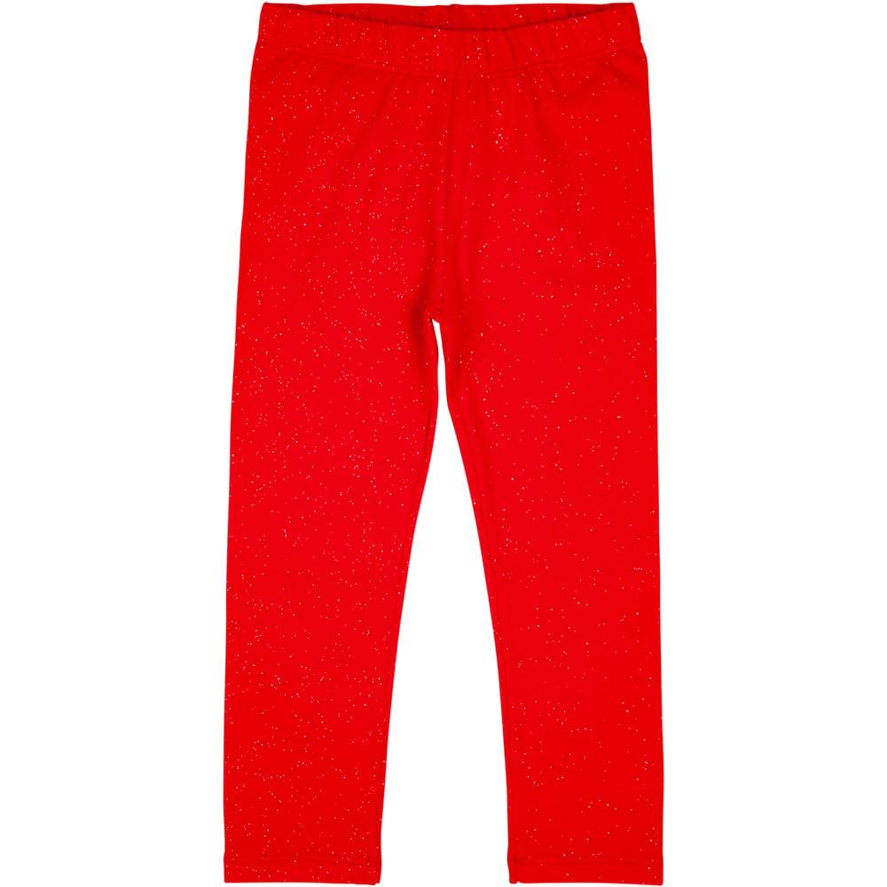 Calça Legging Infantil - Glitter - 100% Algodão - Vermelho - Minimi - 4