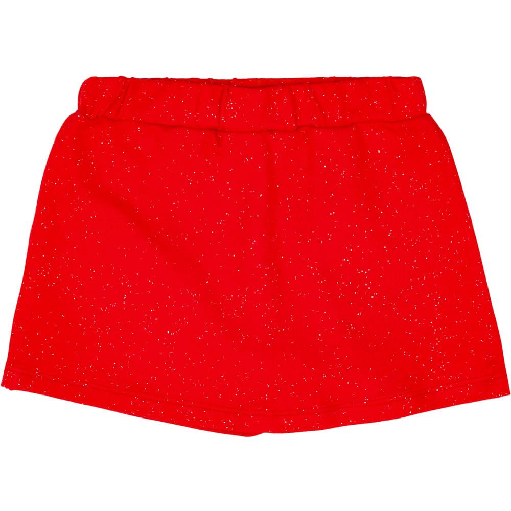 Short Saia Infantil - Glitter - 100% Algodão - Vermelho - Minimi