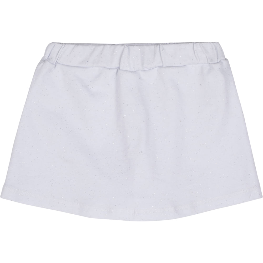 Short Saia Infantil - Glitter - 100% Algodão - Branco - Minimi - 1