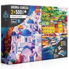 Conjunto-de-Quebra-Cabecas---500-Pecas---Litorais-Europeus---Grecia-e-Italia---Toyster
