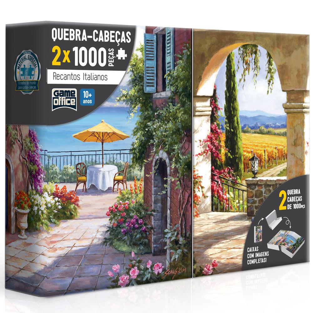 Conjunto de Quebra-Cabeças - 1000 Peças - Recantos Italianos - Toscana e Vinha Italiana - Toyster