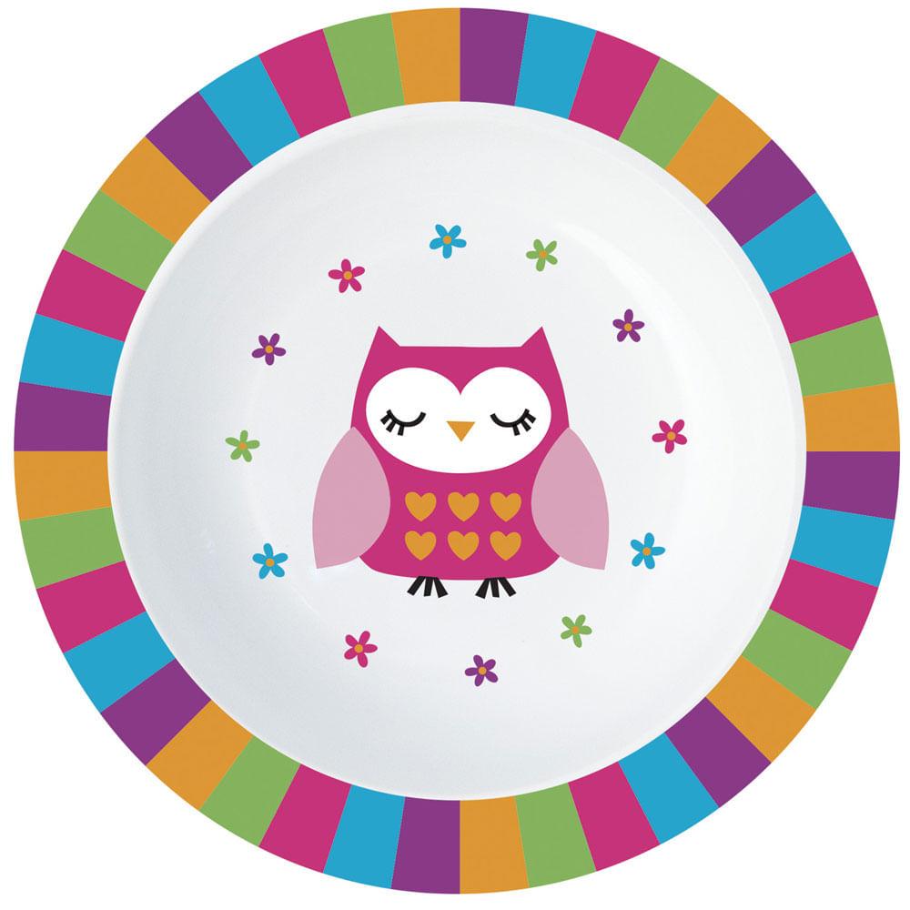 Bowl de Alimentação Infantil - Rosa - Corujinha - Minimi