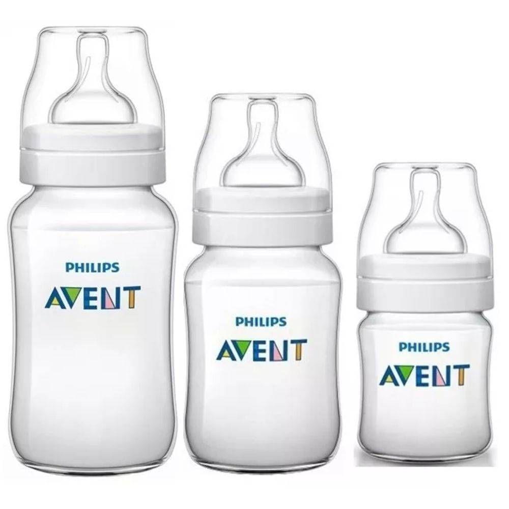 Conjunto de Mamadeiras - Clássica Transparente - Anti Cólica - 125, 260 e 330 ml - Philips Avent
