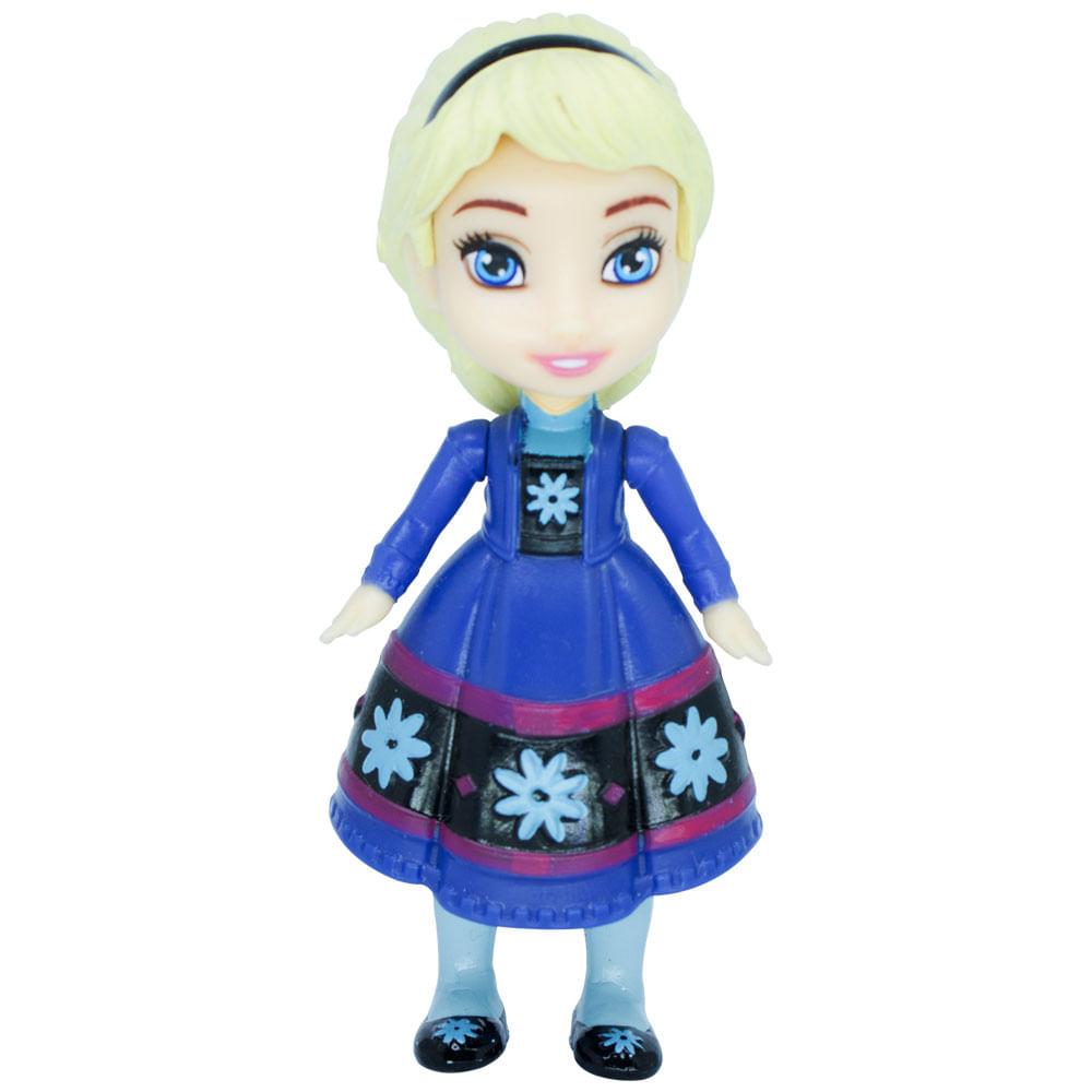 Mini Boneca Articulada - 8 Cm - Disney - Frozen - Elsa Vestido Azul Escuro - Mimo