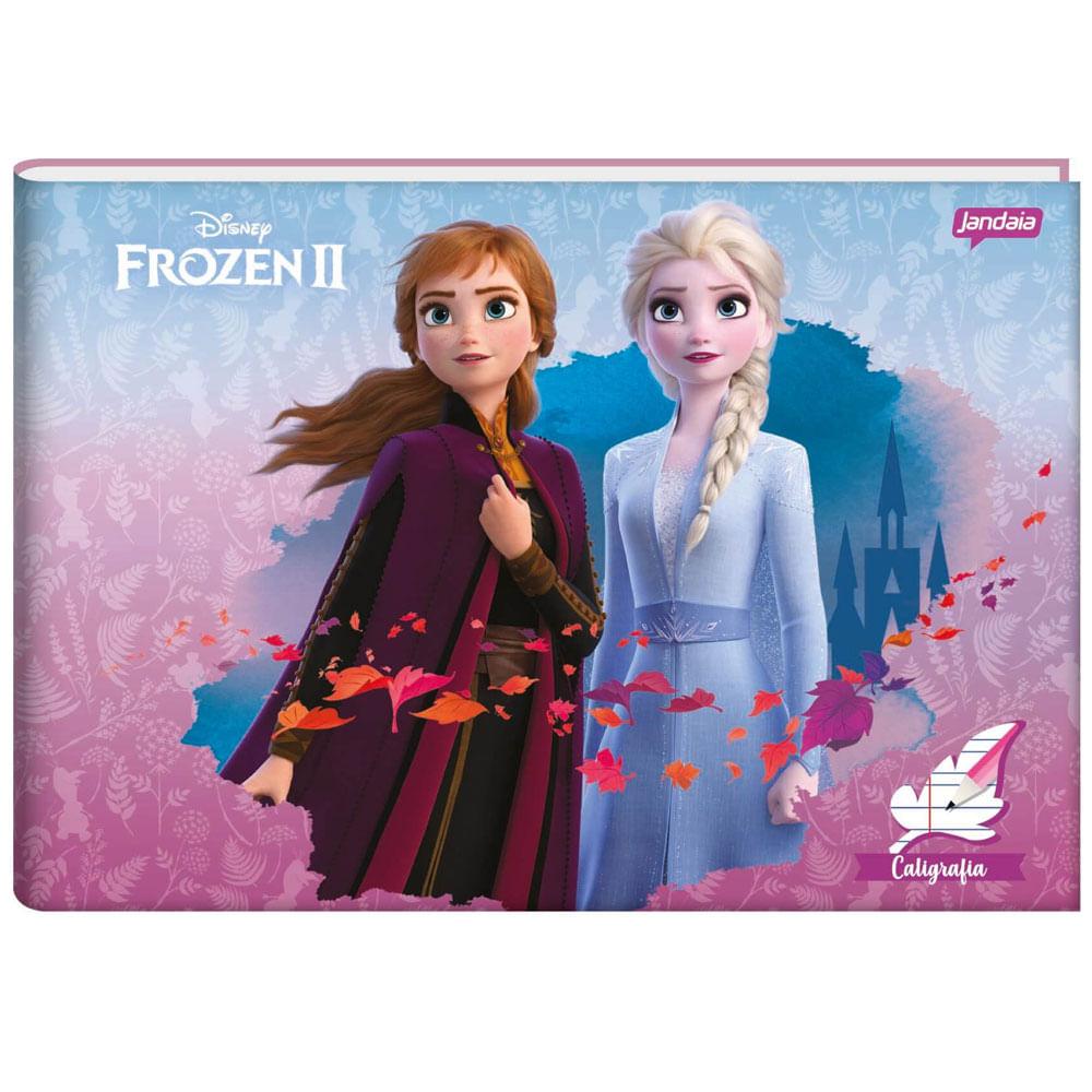 Caderno Brochura - 1/4 - Capa Dura - Frozen - Caligrafia - 40 Folhas - Jandaia