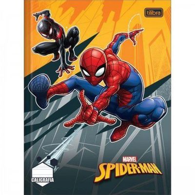 caderno-de-brochura-caligrafia-disney-marvel---spider-man-miles-e-peter-b.-parker-tilibra_frente