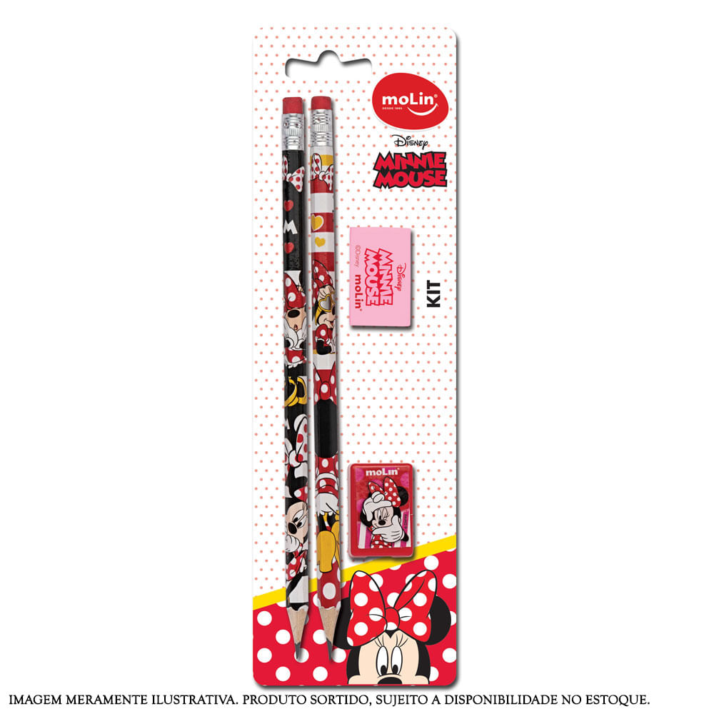 Conjunto Escolar - 4 Peças - Sortido - Disney - Minnie Mouse - Molin