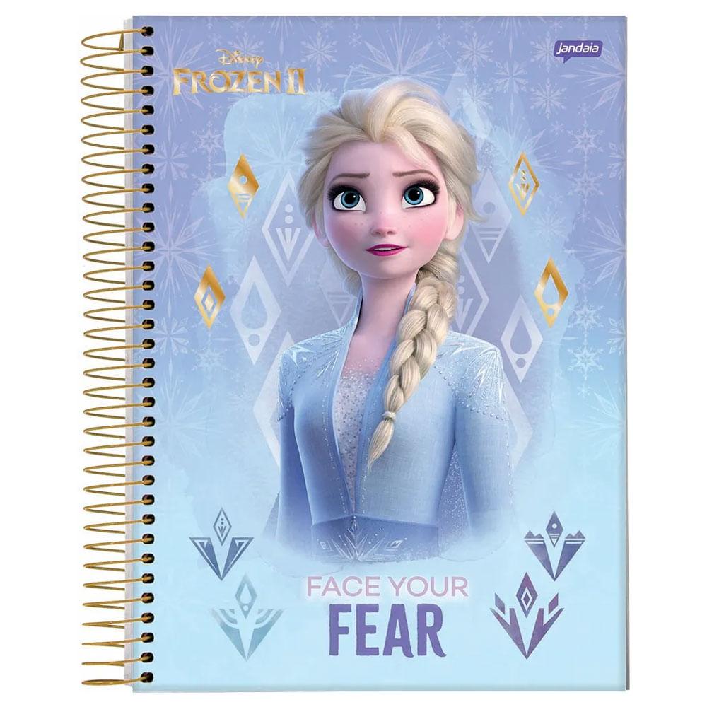 Caderno Universitário Espiralado - 1 Matéria - Frozen 2 - Elsa - Face Your Fear - 80 Folhas - Jandaia