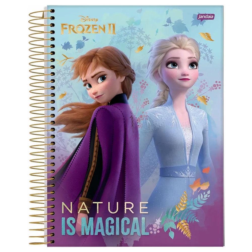 Caderno Universitário Espiralado - 1 Matéria - Frozen 2 - Anna e Elsa - Nature Is Magical - 80 Folhas - Jandaia