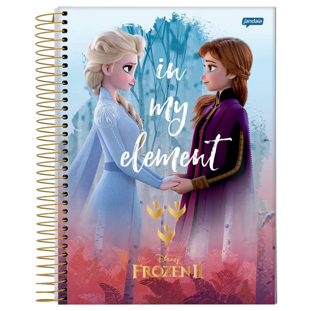 Caderno Universitário Espiralado - 1 Matéria - Frozen 2 - Anna e Elsa - In My Element - 80 Folhas - Jandaia