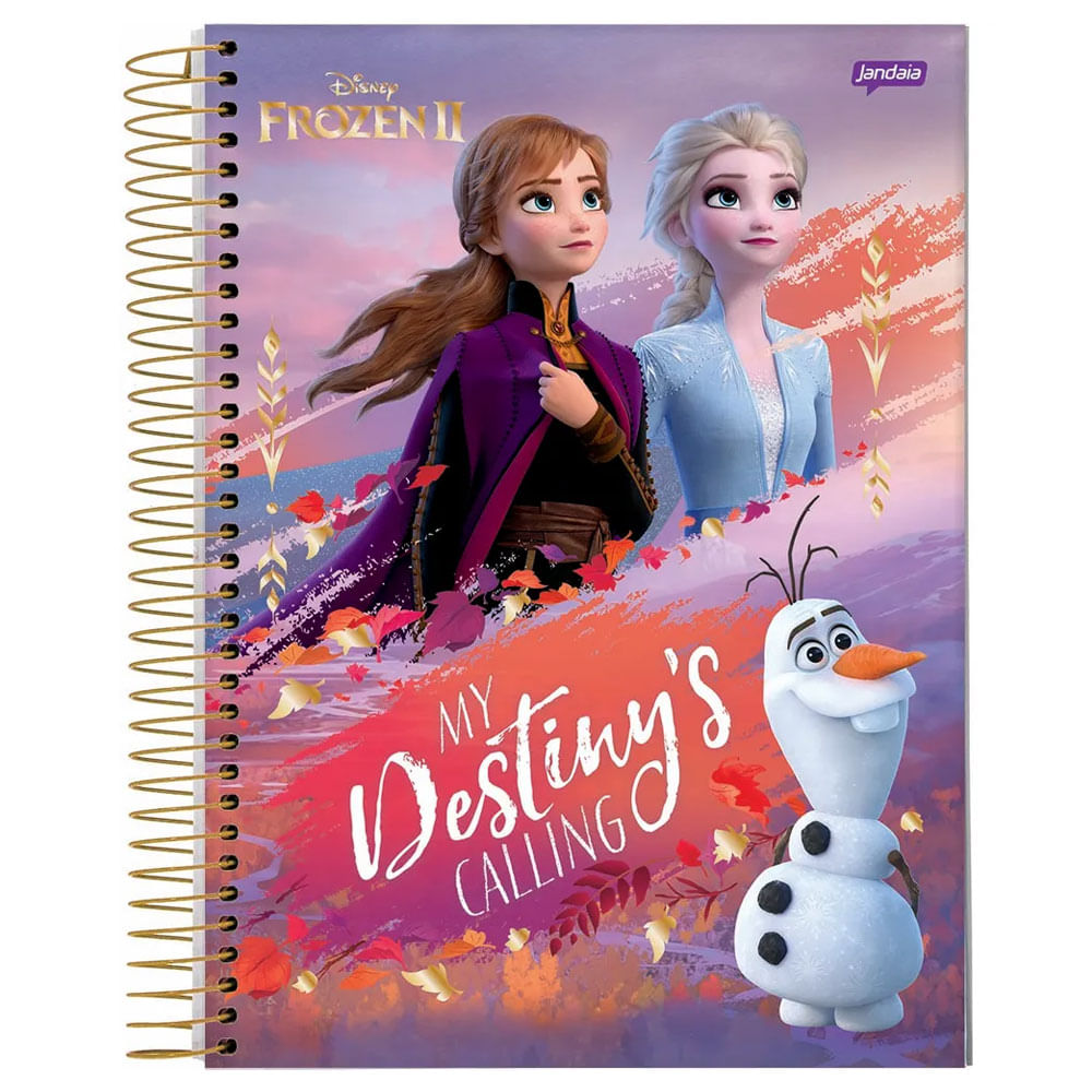 Caderno Universitário Espiralado - 1 Matéria - Frozen 2 - Anna e Elsa - My Destiny's Calling - 80 Folhas - Jandaia