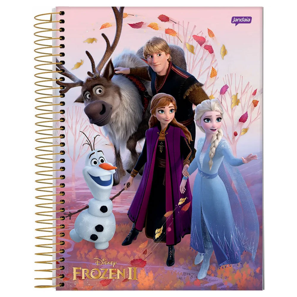 Caderno Universitário Espiralado - 1 Matéria - Frozen 2 - Turma Frozen - 80 Folhas - Jandaia