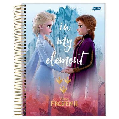 caderno-universitario-espiralado-capa-dura-15-materias-frozen-2-anna-e-elsa-in-my-element-300-folhas-jandaia-58592-20_Frente