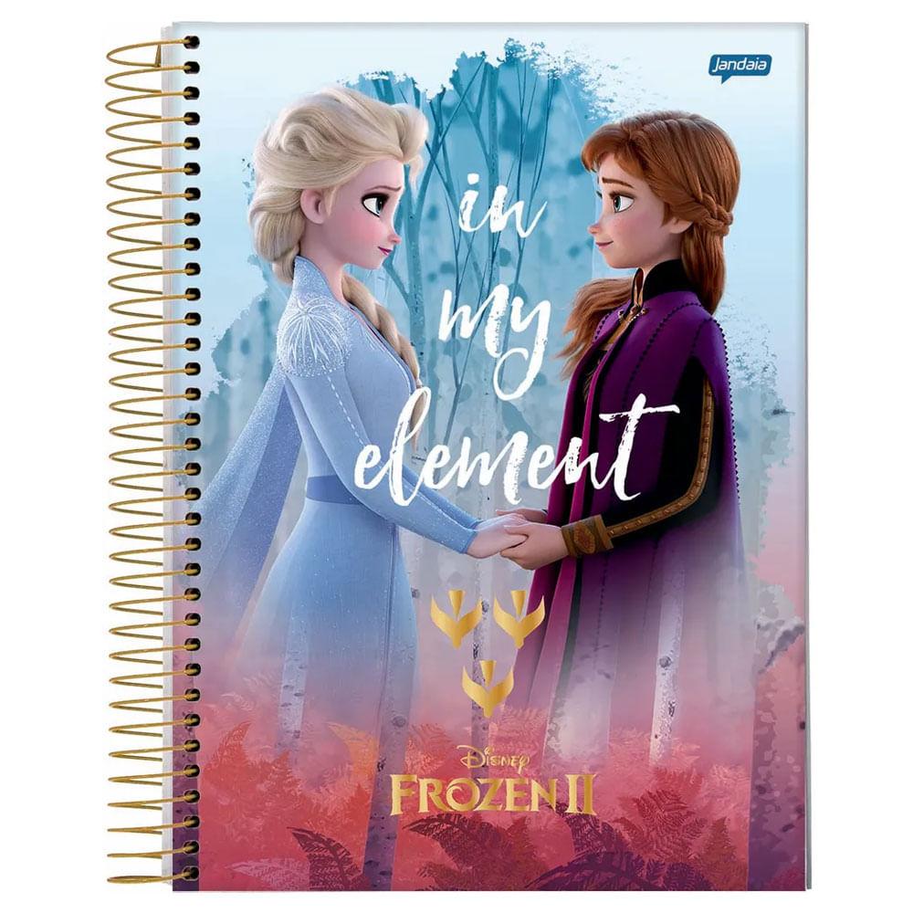 Caderno Universitário Espiralado - Capa Dura - 15 Matérias - Frozen 2 - Anna e Elsa - In My Element - 300 Folhas - Jandaia