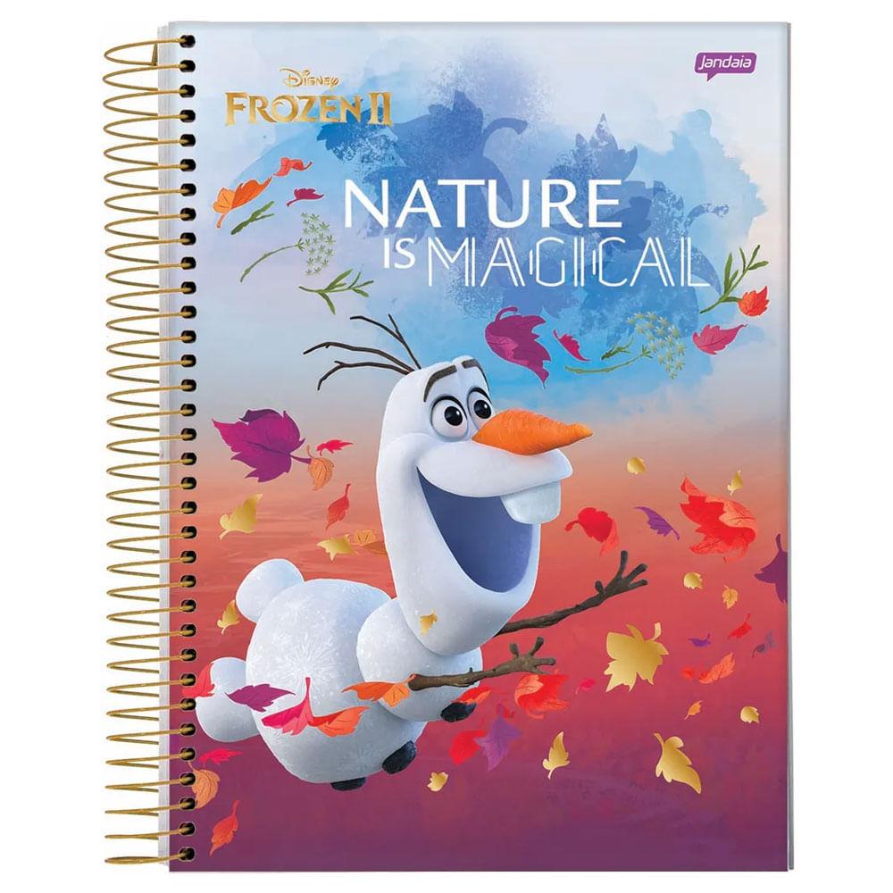Caderno Universitário Espiralado - Capa Dura - 15 Matérias - Frozen 2 - Olaf - Nature Is Magical - 300 Folhas - Jandaia