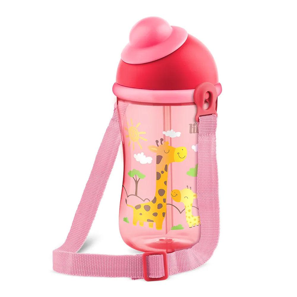 Copo com Canudo - Cantil 390 ml - Antivazamento - Rosa - Meninas - Lillo