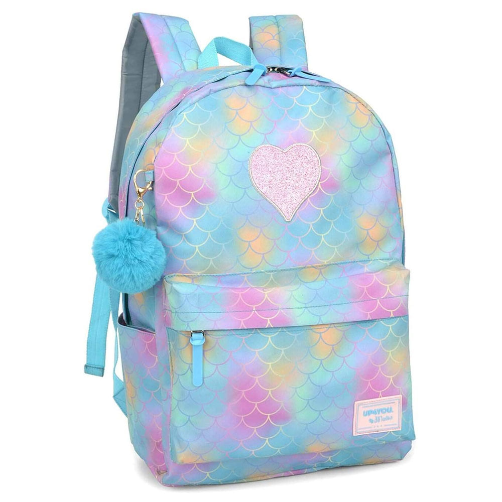 Oferta Mochila Escolar - 44 Cm - UP4YOU - By Maisa - Patch e Glitter - Azul - Luxcel por R$ 109.99