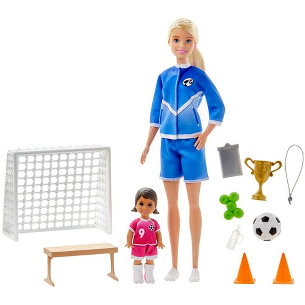 Playset e Boneca Barbie - Barbie Técnica - Loira - Treinadora de Futebol - Mattel