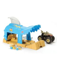 lancador-e-mini-veiculo-hot-wheels-monster-trucks-shark-wreak-mattel-GKY01_Frente