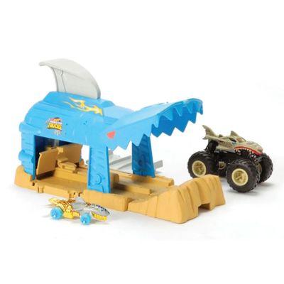 lancador-e-mini-veiculo-hot-wheels-monster-trucks-shark-wreak-mattel-GKY01_Frente