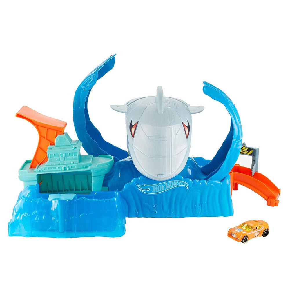Pista de Percurso e Veículo - Hot Wheels - City - Robô Tubarão - Mattel