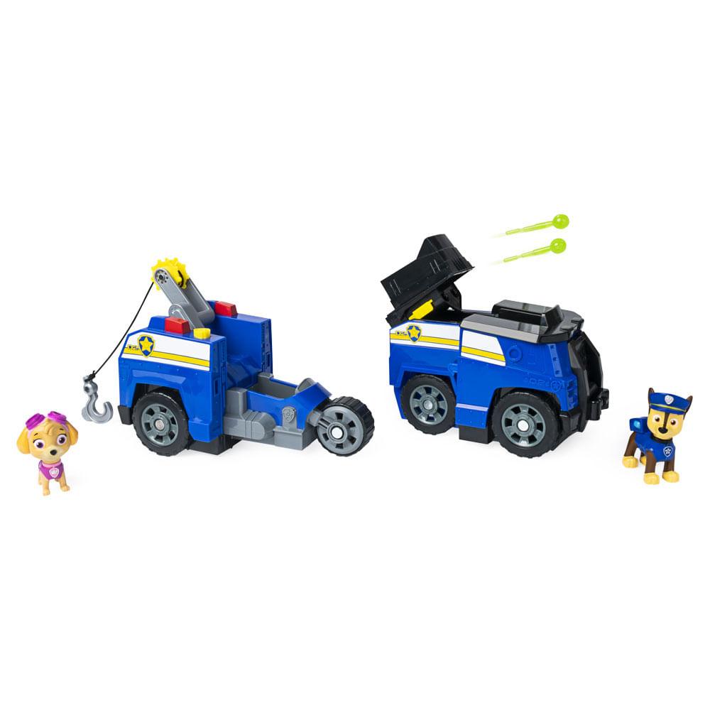 Veiculo 2 em 1 e Figuras - Patrulha Canina - Split Second Veículos - Chase e Skye - Sunny