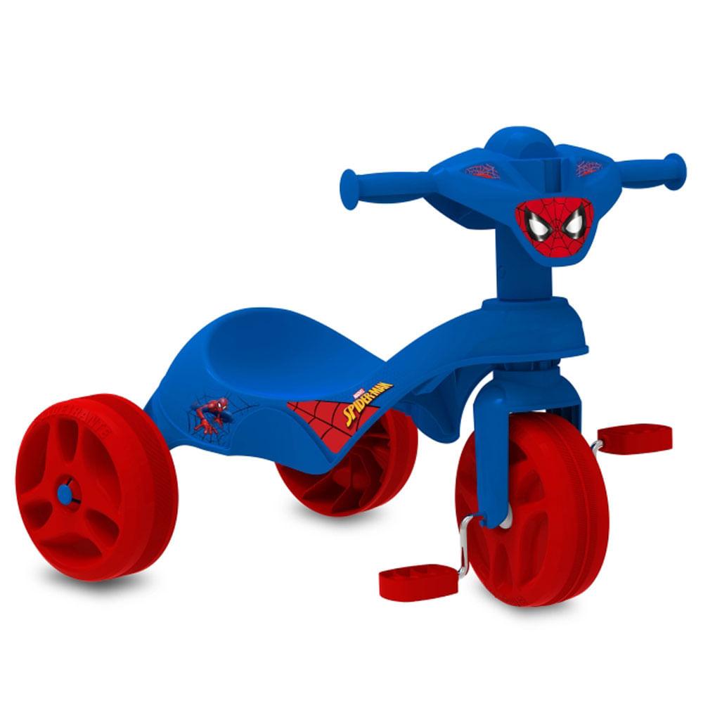 Triciclo Tico-Tico - Pedal - Marvel - Homem Aranha - Azul e Vermelho - Bandeirante